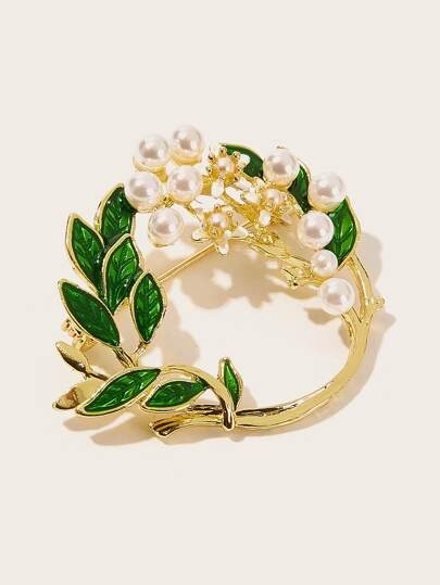Faux Pearl & Leaf Detail Circle Brooch 1pc