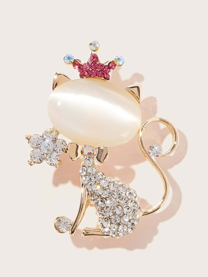 Cat Shaped Rhinestone Brooch 1pc