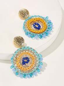 Bead Decor Woven Round Drop Earrings 1pair