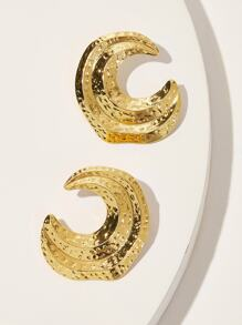 Textured Detail Cut Hoop Earrings 1pair