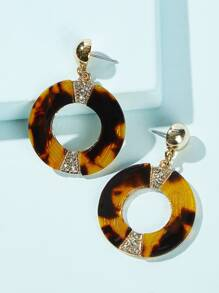 Tortoiseshell Pattern Hoop Drop Earrings 1pair