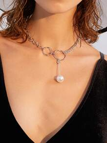 Faux Pearl & Circle Layered Chain Necklace 1pc