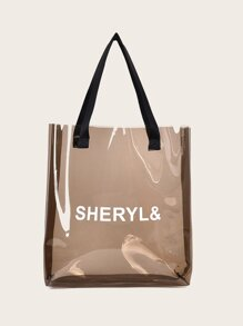 Letter Print Shopper Bag
