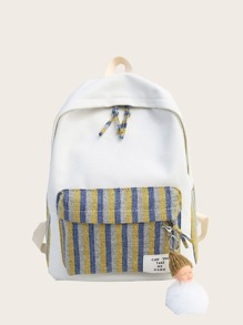 Striped Pocket Front Canvas Backpack