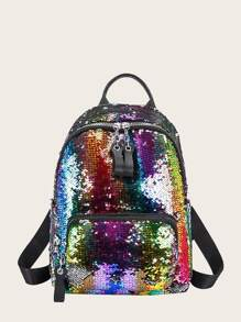 Rainbow Sequins Decor Backpack