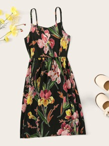 Girls Zip Back Floral Print Slip Dress