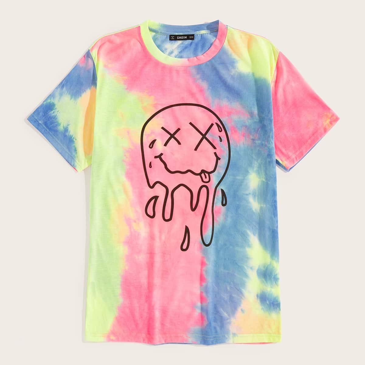 Мужская разноцветная футболка с абстрактным принтом