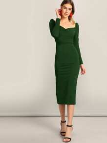 Sweetheart Puff Sleeve Split Pencil Dress