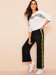 Letter Print Top & Side Tape Pants Set