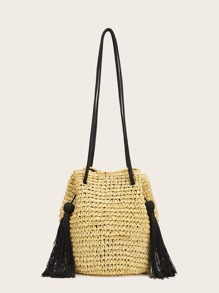 Tassel Decor Straw Tote Bag