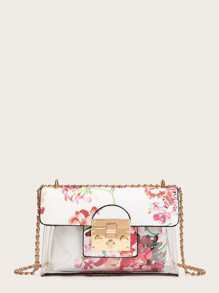 Flower Print Transparent Chain Crossbody Bag