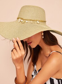 Conch & Starfish Pendant Chain Detail Floppy Hat