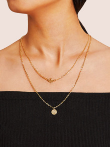 Bird & Disc Pendant Double Layered Chain Necklace 1pc