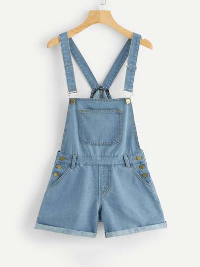 9da7b72d1c0 Pocket Detail Rolled Hem Denim Overalls