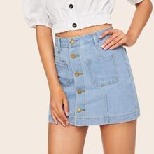 Pocket Front Single Breasted Denim Skirts