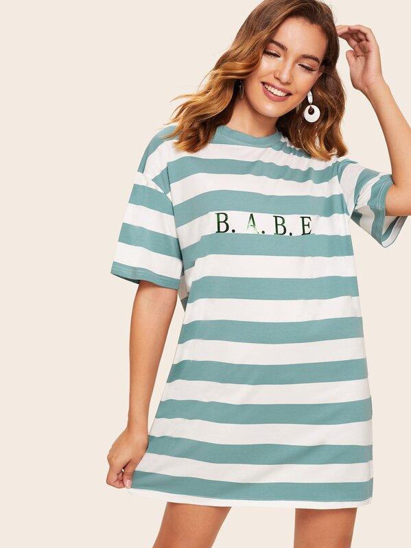875562f3b22 Letter Print Two-tone Striped Dress