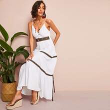 Surplice Neck Shirred Back Aztec Print Maxi Slip Dress