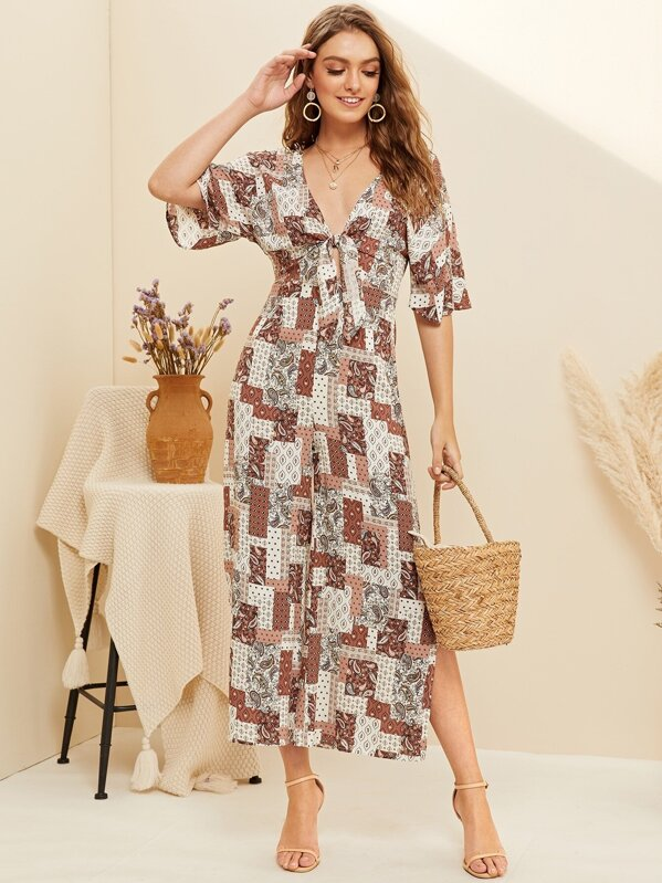 d7714179682 Mixed Geo Print Knot Plunging Jumpsuit