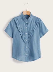 Ruffle Trim Button Front Blouse