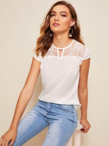 Contrast Lace V-cut Neck Blouse