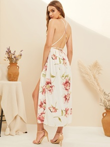 Floral Print Criss Cross Backless Split Dress