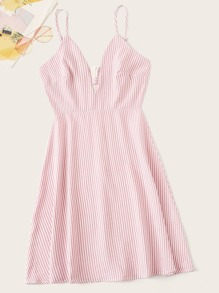 Striped V-cut Neck Cami Dress