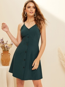 Button Front Tie Back Cami Dress