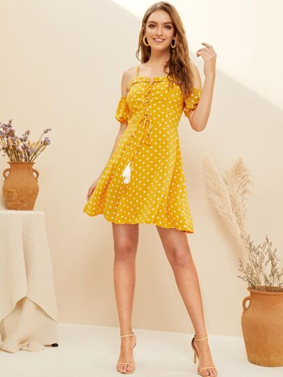 703f1ad7220 Polka Dot Cold-shoulder Lace-up Front Cami Dress