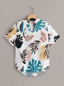 Plus Tropical Print Curved Hem Blouse