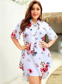 Plus Tie Neck Dip Hem Floral Print Dress