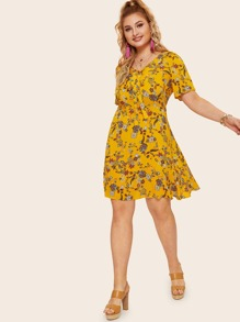 Plus Knot Front Floral Print Dress