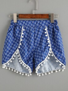 Plus Asymmetrical Hem Pom Pom Calico Shorts