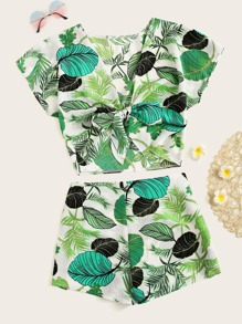 Plus Leaf Print Knot Top With Shorts