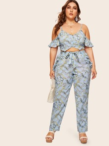 Plus Cold Shoulder Chain Print Top With Pants