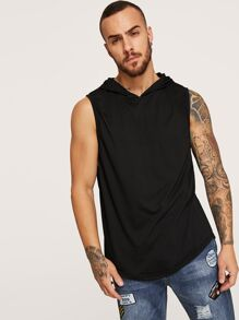 Men Curved Hem Hooded Tank Top