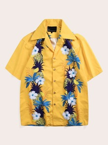 Men Pineapple Print Notched Shirt
