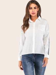 Tuxedo Stripe Side Pocket Detail Shirt