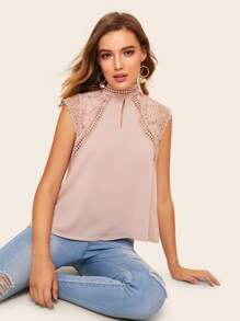 Contrast Lace Stand Collar Blouse