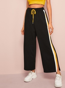 Striped Slit Side Drawstring Waist Pants