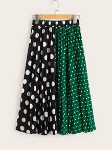 Two Tone Polka Dot Skirt
