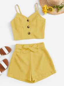 Button Front Crop Cami Top With Shorts
