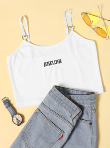 Letter Embroidered Crop Cami Top