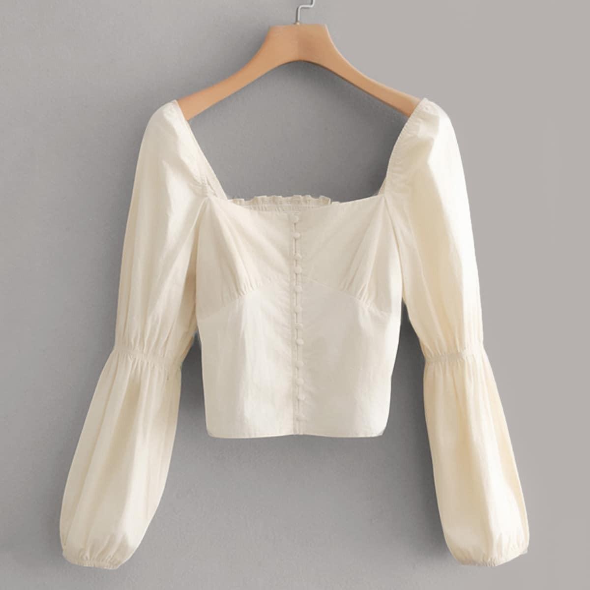 Нарядная Белая Блуза С Глубоким Вырезом И Гофрированным Рукавом SheIn swblouse02190321001