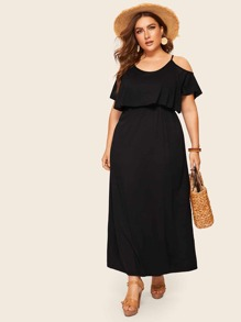 Plus Cold Shoulder Solid Dress