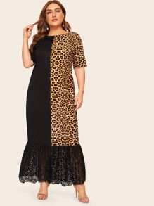 Plus Contrast Leopard Print Ruffle Hem Maxi Dress