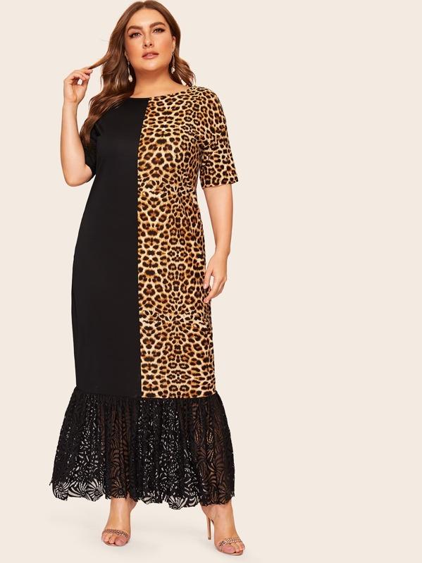 Plus Contrast Leopard Print Ruffle Hem Maxi Dress
