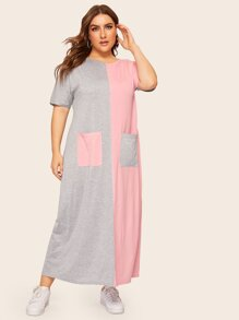 Plus Two Tone Pocket Front Maxi Dress