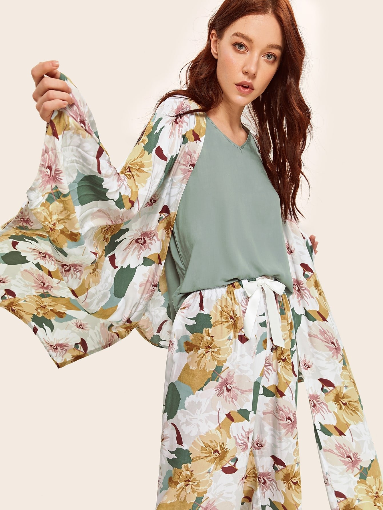 4шт. цветочная пижама комплект и халат thumbnail