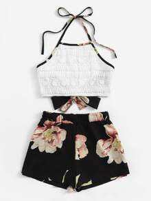 Plus Tie Back Halter Top & Floral Print Shorts