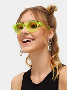 Neon Green Transparent Frame Sunglasses